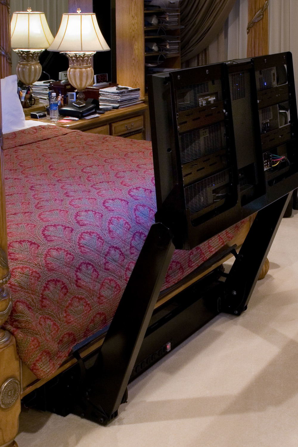 A unique TV storage solution!  This TV folds itself up, and puts itself away, with the touch of a button!