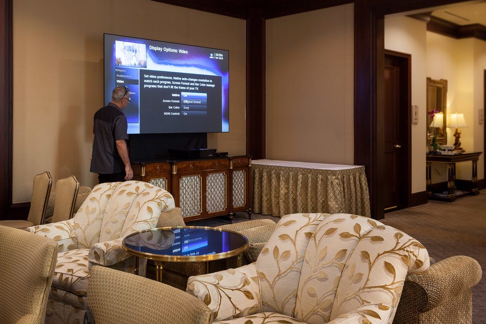 Projector screen provided by  Screen Innovations .