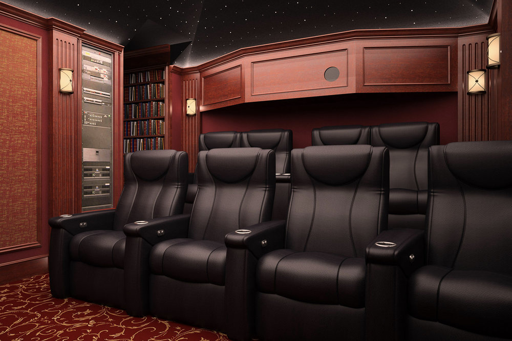 Automated lights in movie room.