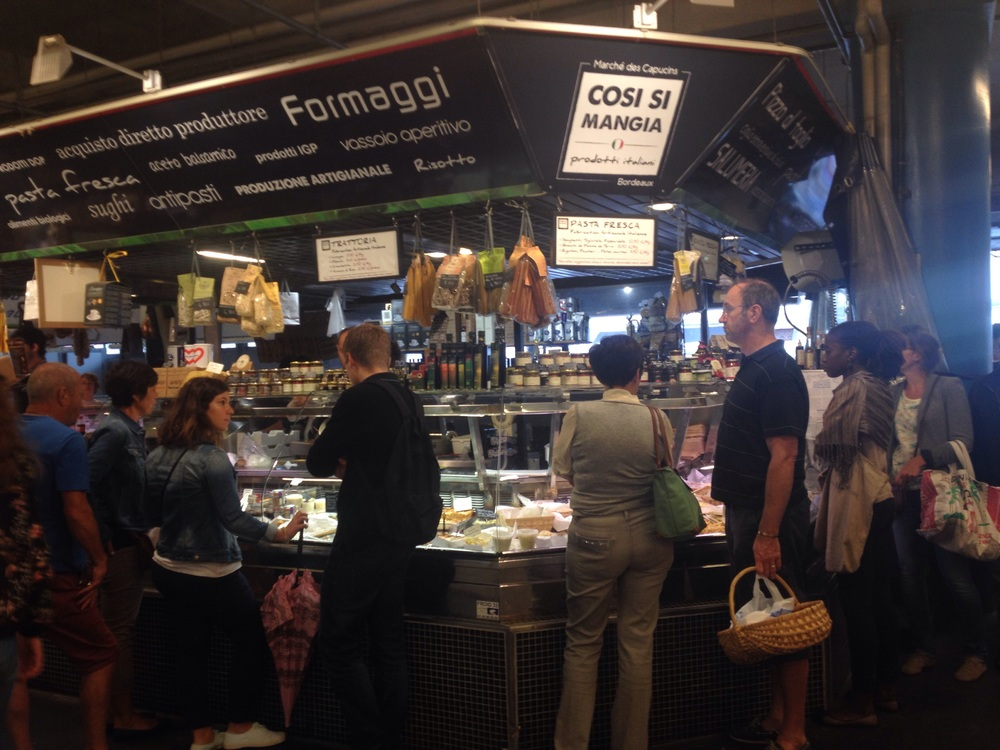 The indoor food market. Everything looks so tasty. We bought some fresh tagliatelle for dinner and it tasted amazing!