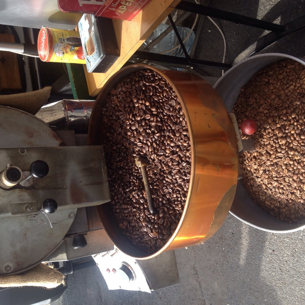 Fresh coffee at the market.
