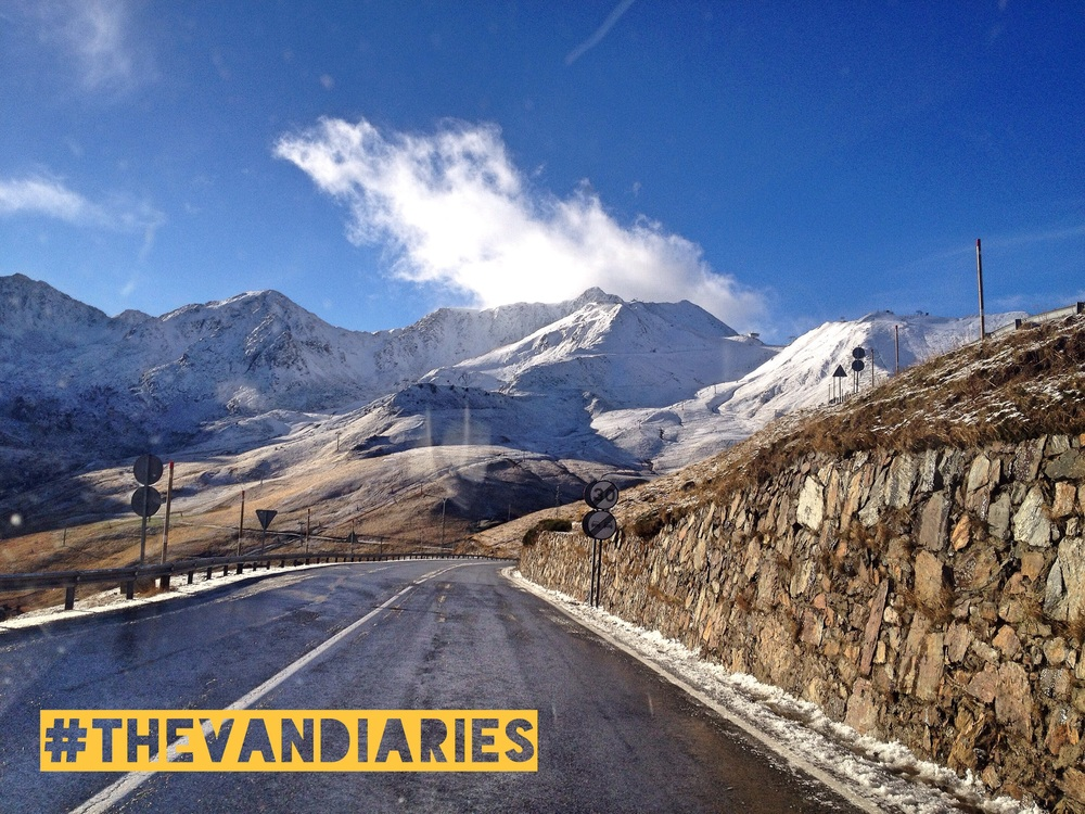 We passed back into France through snow capped mountains!