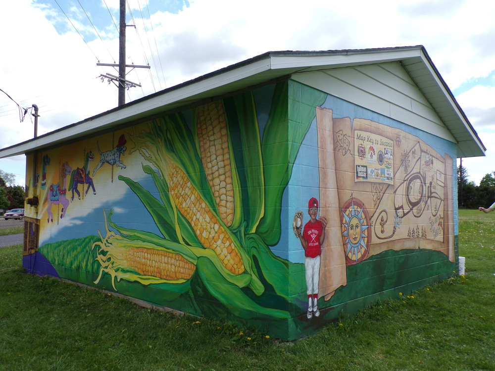Mural at the concession stand, Sun Prairie Firemen's Angell Park, Sun Prairie