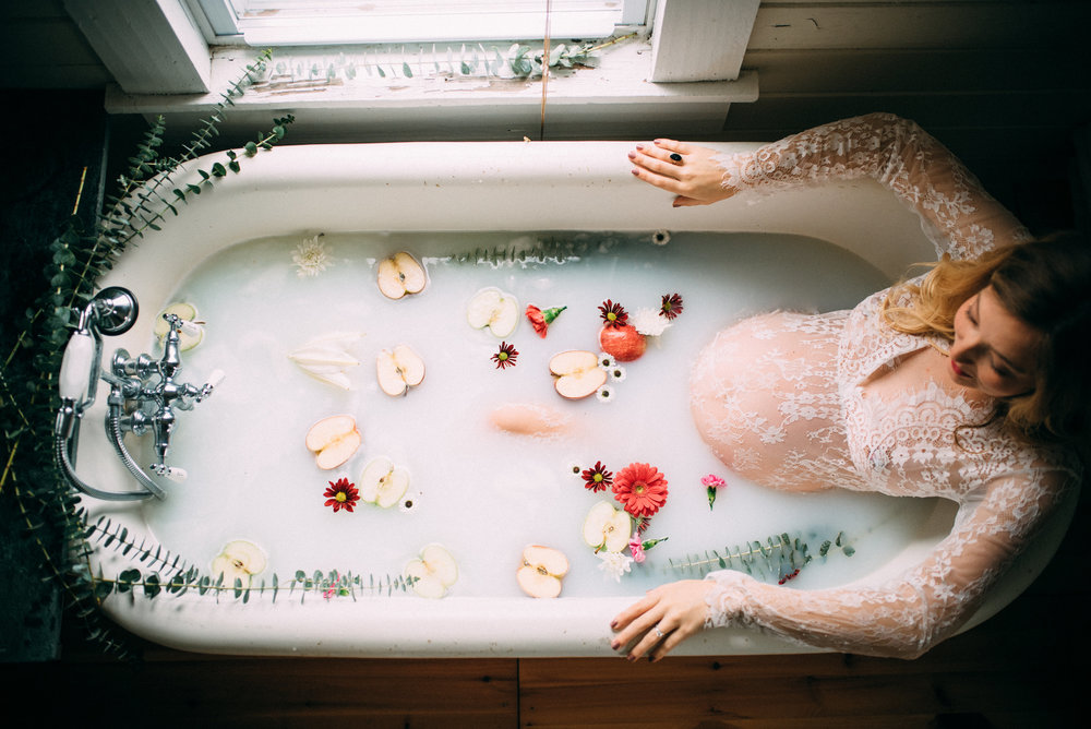 milk bath maternity session - north carolina wedding photographer - raleigh photographer