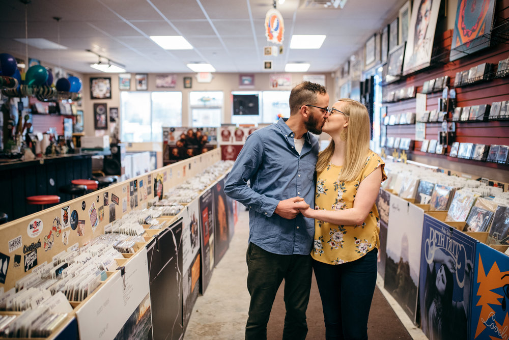 record store engagement session - north carolina wedding photographer - raleigh wedding photographer