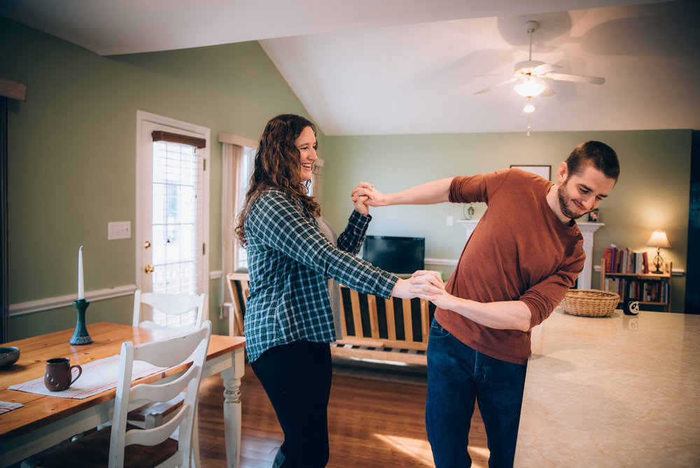 in-home engagement session - north carolina wedding photographer - durham wedding photographer