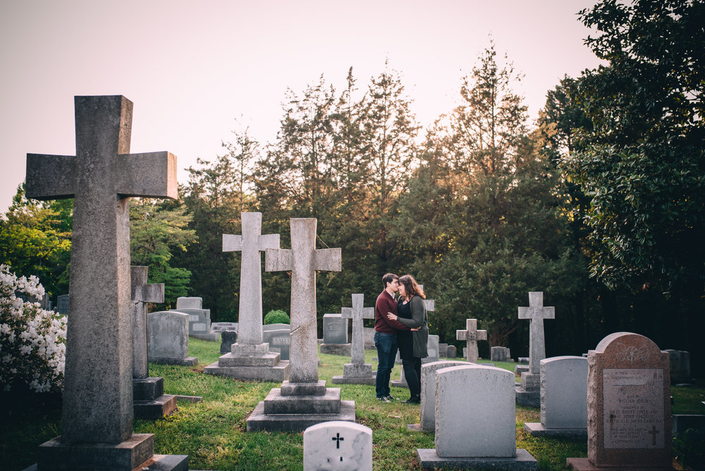 oakwood cemetery engagement - north carolina wedding photographer - raleigh wedding photographer