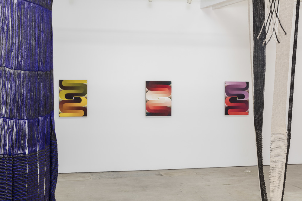 Paintings seen through Lenore Tawney fiber art at the Landing in Los Angeles, CA