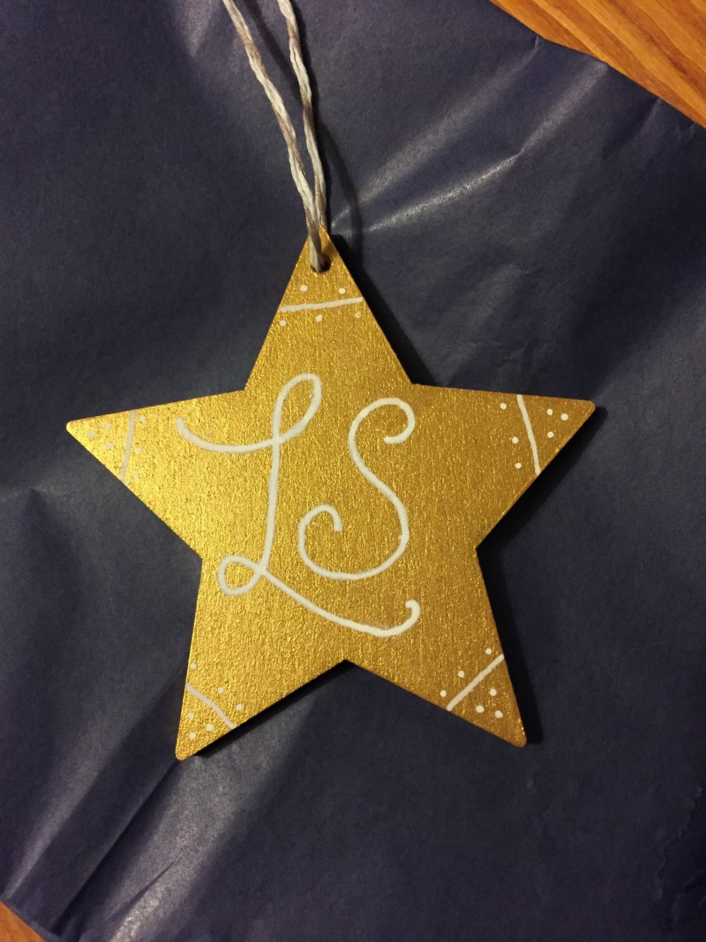 Personalised Christmas tree decoration.