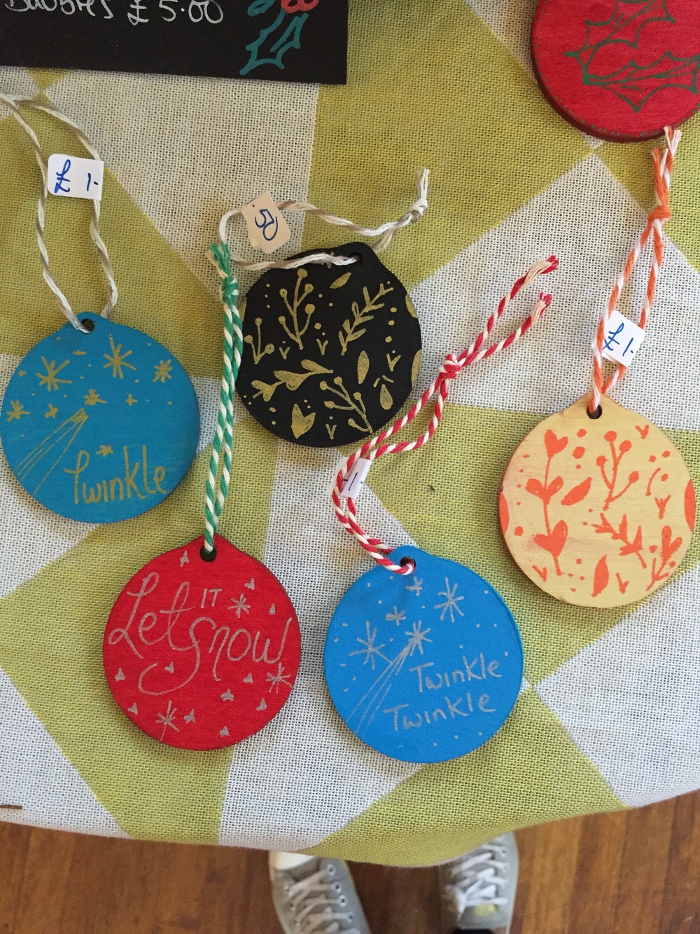 Hand painted christmas tree decorations