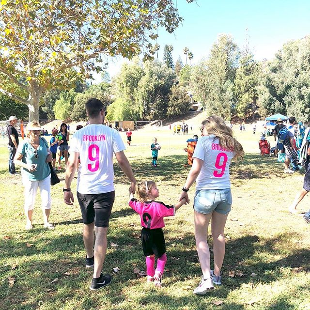 "If you couldn't tell by the matching jerseys, we're ""that"" family. The kind of family that makes shirts to support our 3 year old's soccer endeavors. That's us, and I LOVE it! I'm beyond lucky to have such a strong and supportive family, I couldn't do any of this without them ❤️"