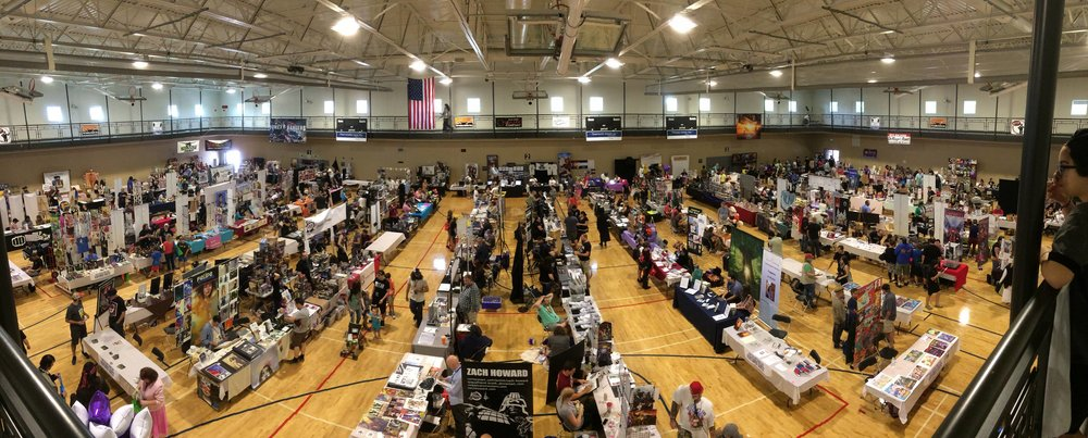 A view from above the convention floor at Fort Collins Comic Con 2017.