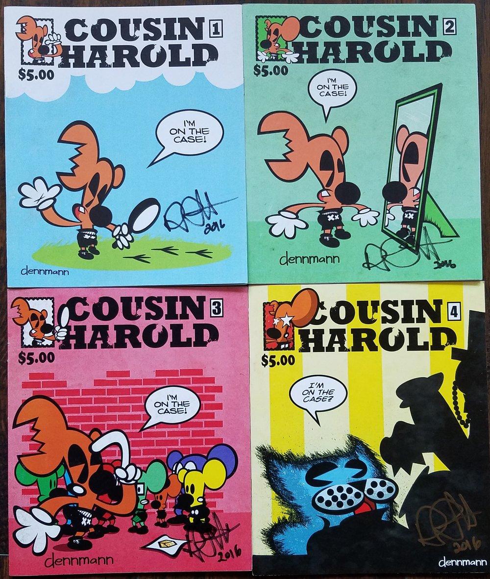 "Cousin Harold by Denny ""Dennmann"" Riccelli issues #1, #2, #3, & #4."