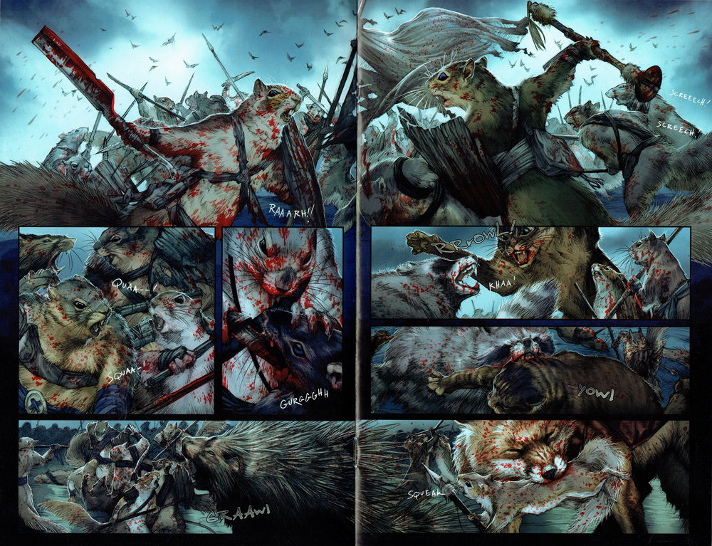 Squarriors #2, pages 12 & 13 featuring art from Ashley Witter.