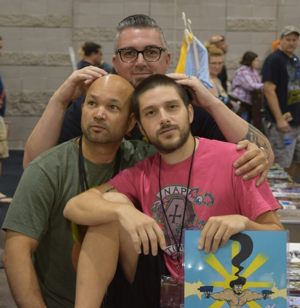 Dave Dwonch (left), Nick Marino (right), and Dan Mendoza (back) at Phoenix Comic Con 2016.