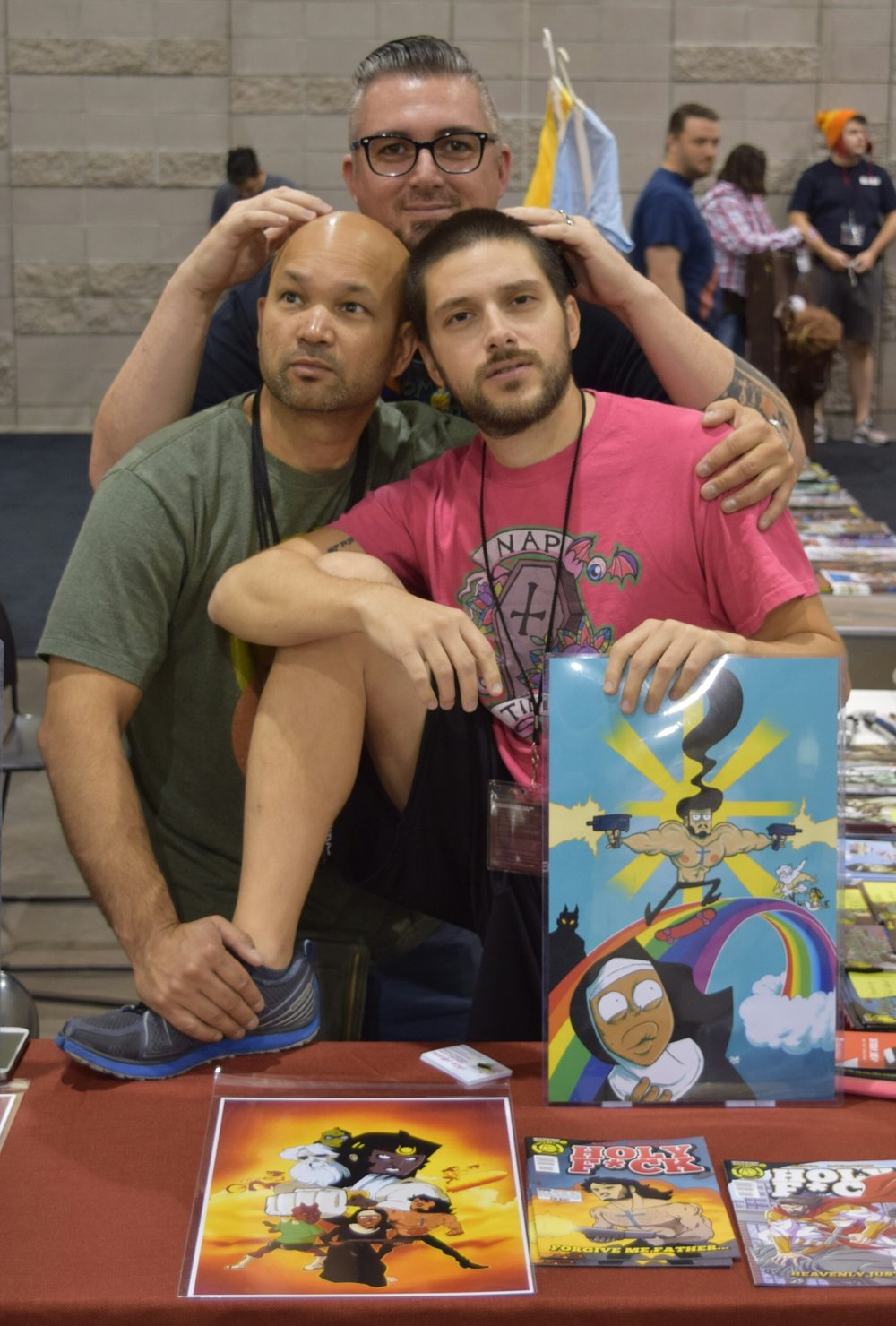 Dave Dwonch (left), Nick Marino (right), and Dan Mendoza (back) at Phoenix Comic Con 2016 (3).
