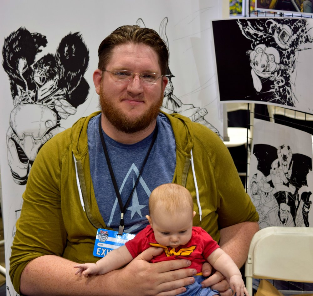 Ben Mikkelsen with his daughter at Denver Comic Con 2016.