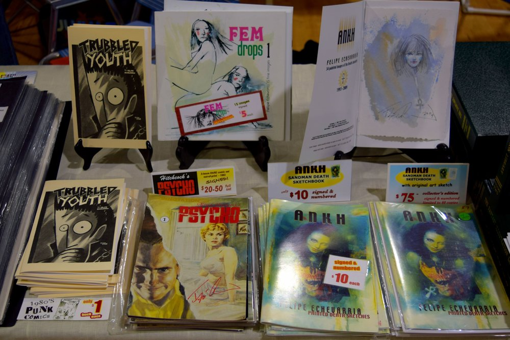 Comics and art books from Felipe Echevarria at Fort Collins Comic Con 2016.