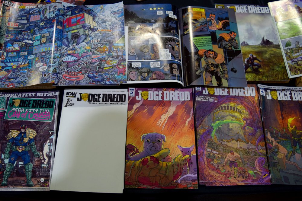 Judge Dredd comics from Ulises Farinas at Fort Collins Comic Con 2016.