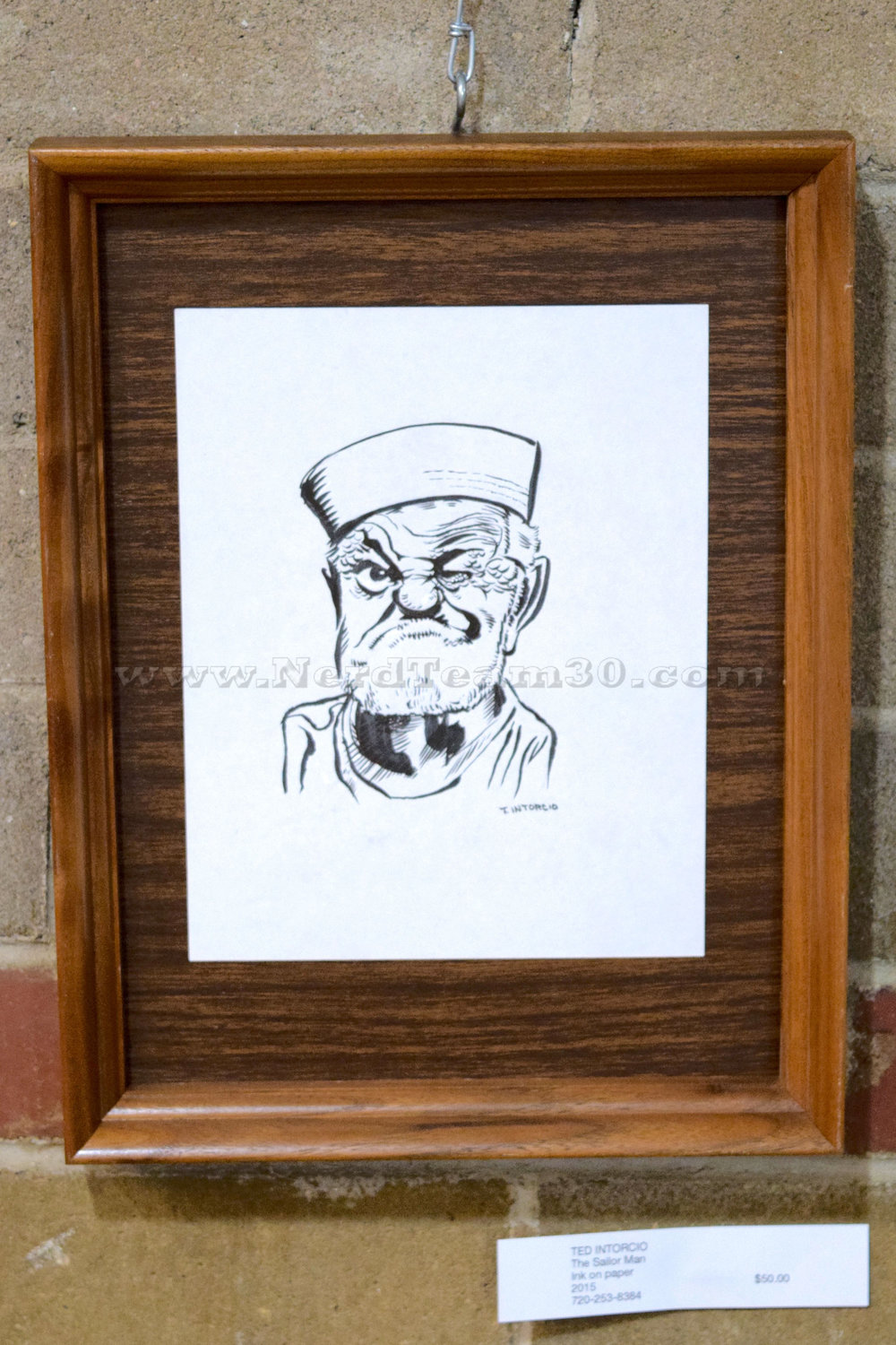 """Ted Intorcio """"The Sailor Man"""" Ink on paper 2015   $50"""