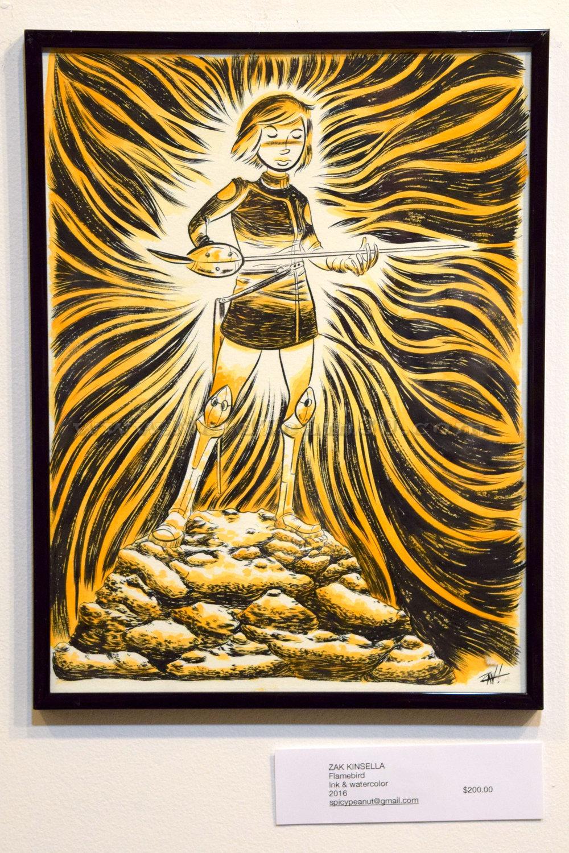 "Zak Kinsella ""Flamebird"" Ink and watercolor 2016   $200 spiceypeanut@gmail.com"