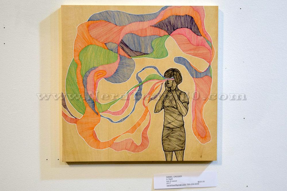 "Daniel Crosier ""In Sight"" Ink on wood 2017   $225 vanishteer@gmail.com"
