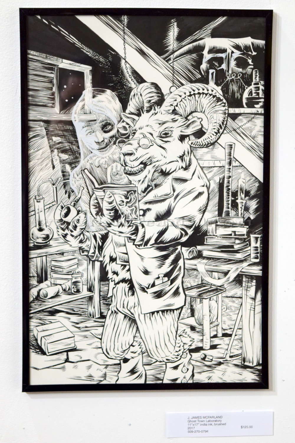 """J. James McFarland """"Ghost Town Laboratory"""" 11"""" x 17"""" india ink, brushed 2017   $125"""