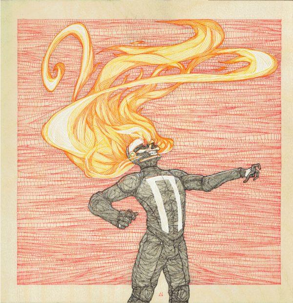 Ghost Rider original art (Ink on wood) by Daniel Crosier.