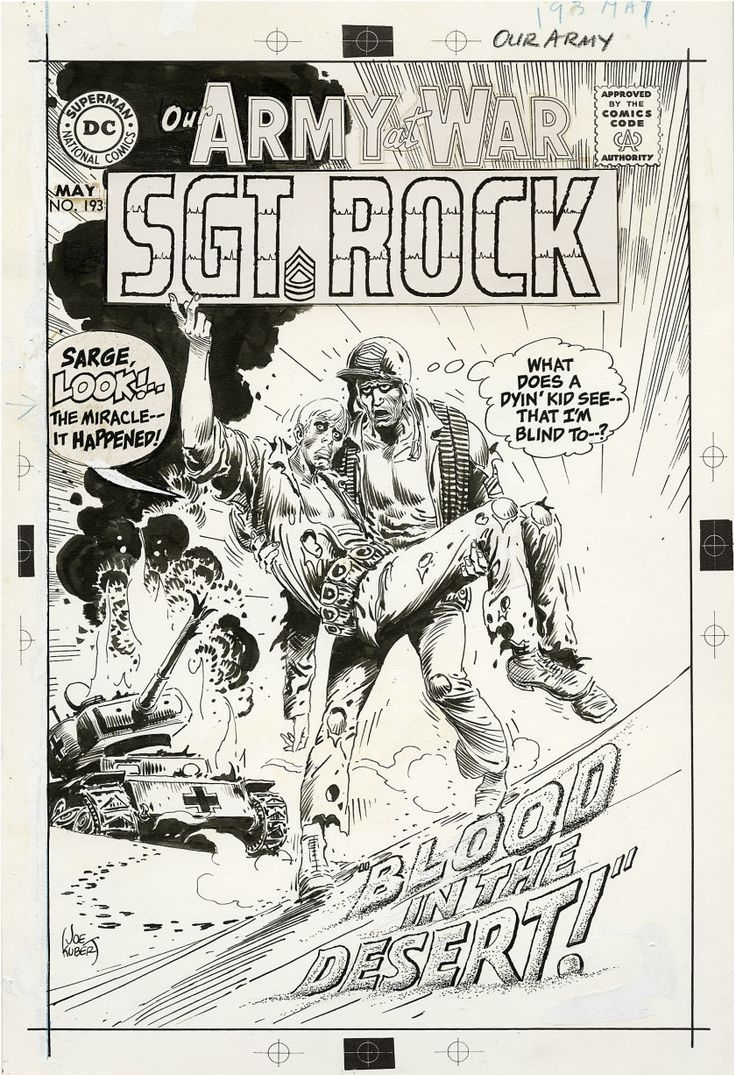 Original art for the cover to Our Army At War (1952) #193 by Joe Kubert.