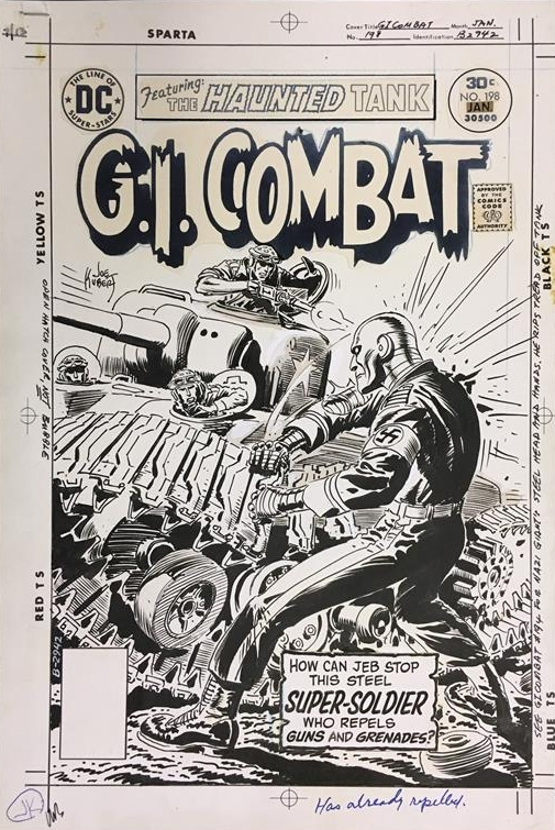 Original art for the cover to G.I. Combat (1952) #198 by Joe Kubert.