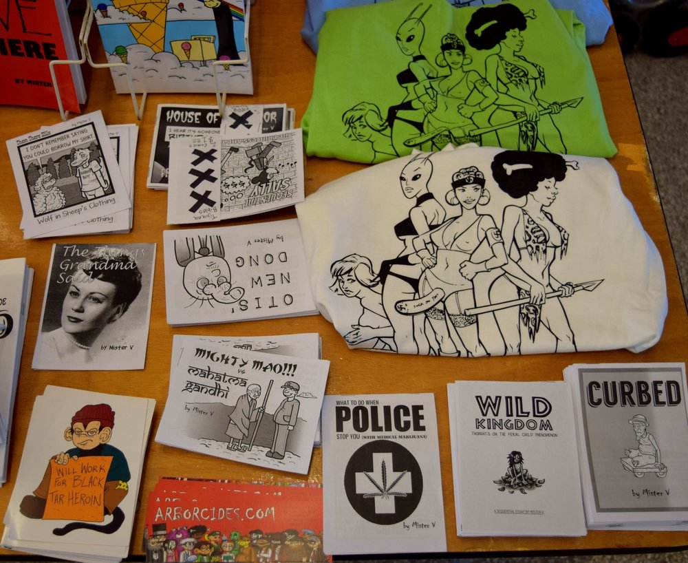 T-shirts and 'zines from Mister V at DINK 2017.