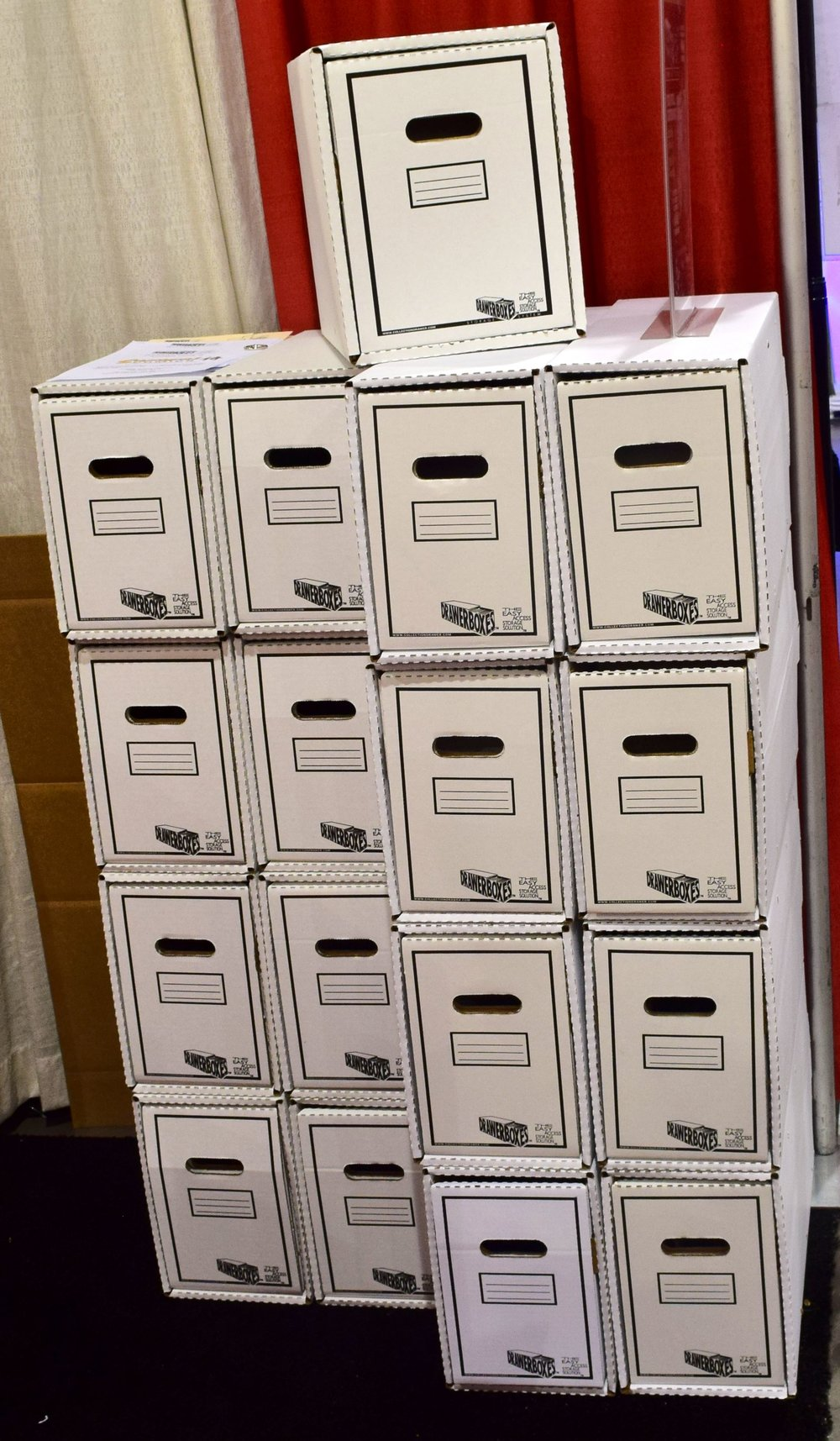 A DrawerBox Storage System floor display at Phoenix Comic Con 2017.