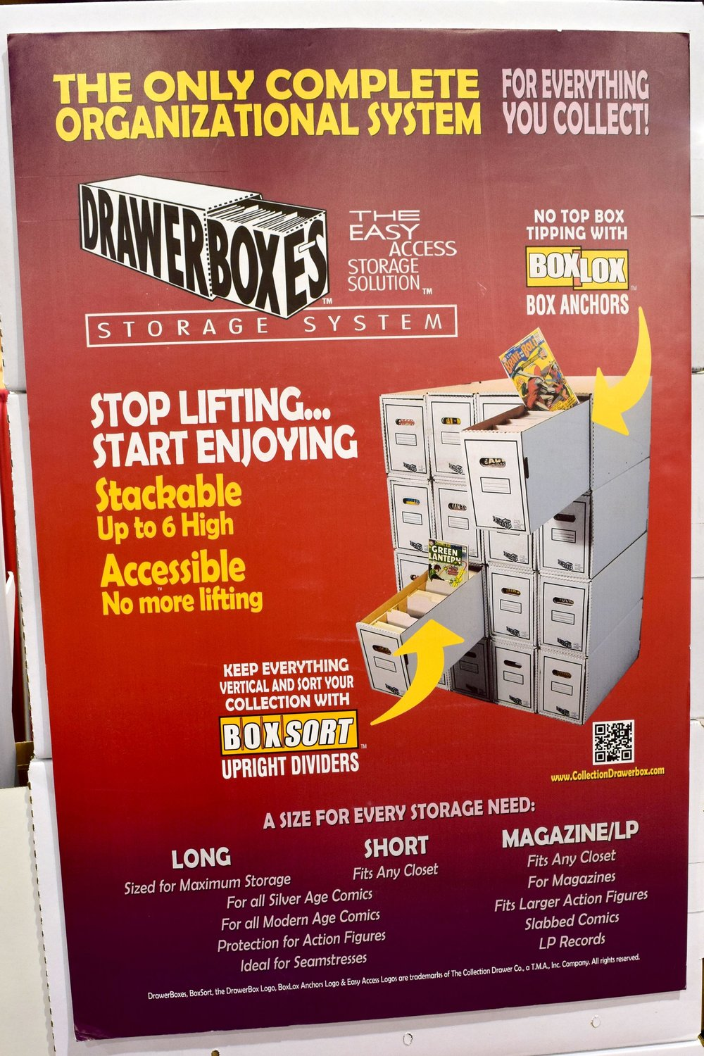 A DrawerBox Storage System poster at Phoenix Comic Con 2017.