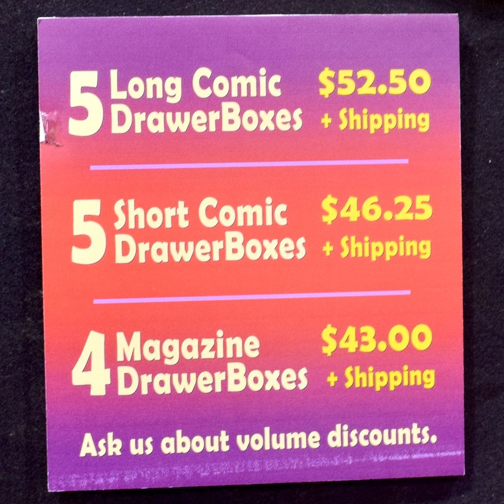 Pricing structure for the DrawerBox Storage System.
