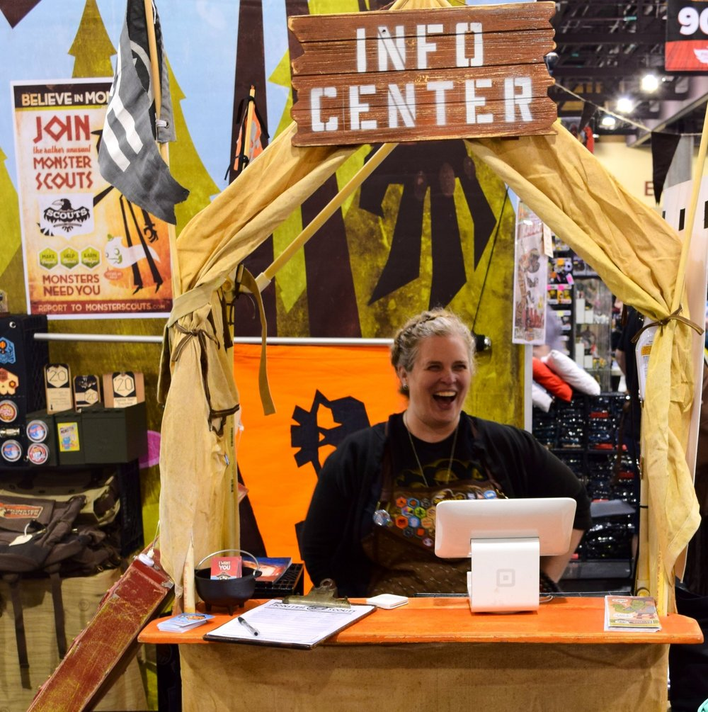 Dawna Davis in the Monster Scouts Info Center at Phoenix Comic Con 2017.
