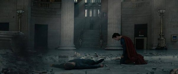 Superman with a defeated Zod in Man of Steel.