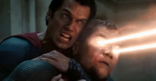 Superman fights General Zod in Man of Steel.