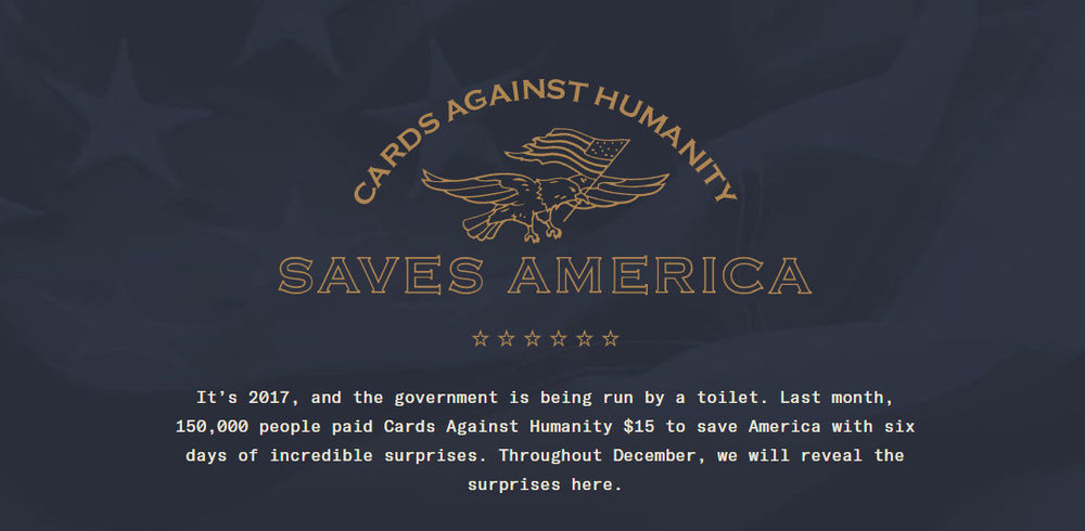 THE BANNER AT THE TOP OF  CARDSAGAINSTHUMANITYSAVESAMERICA.COM .