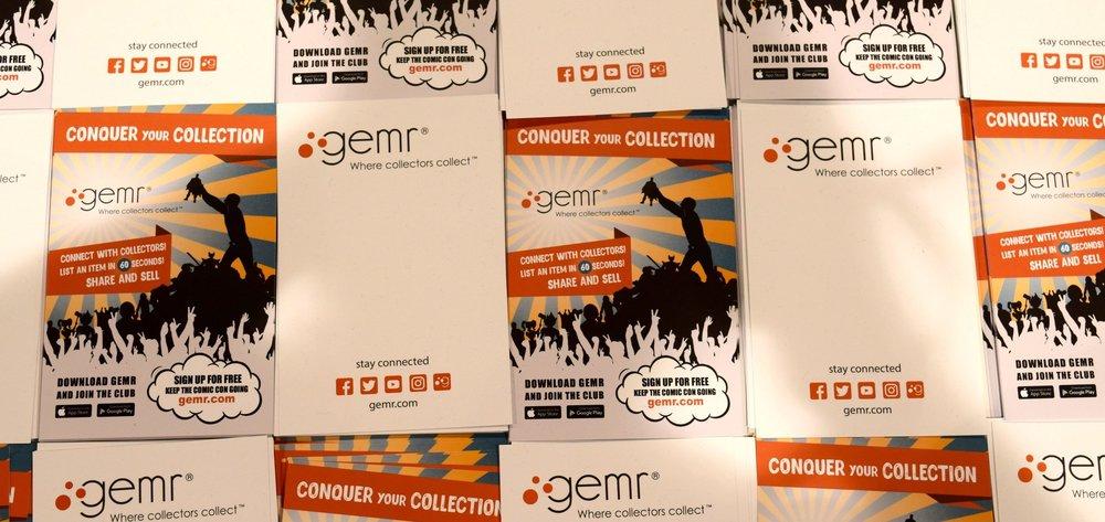 Gemr.com flyers at Phoenix Comic Con 2017.