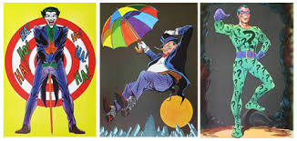 The 1966 Joker, Penguin & Riddler posters, colored.