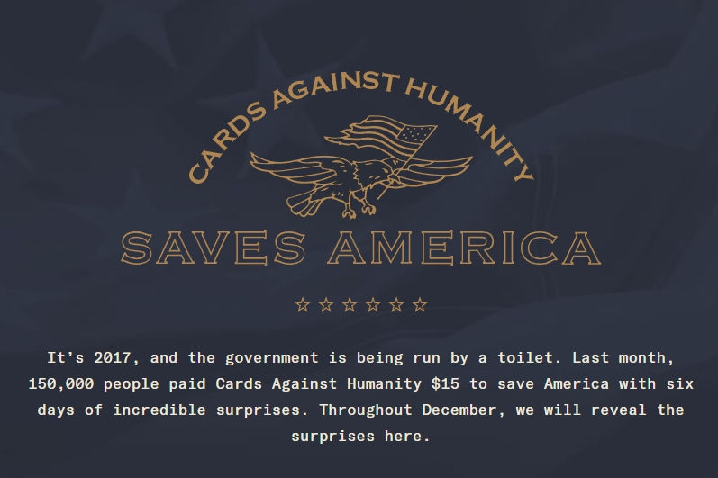 Cards Against Humanity Saves America - Day 1   Written by Neil Greenaway