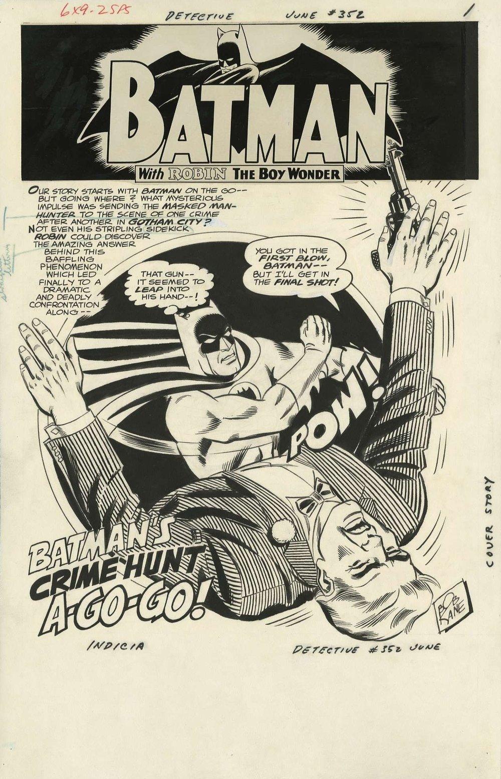 Detective Comics #352 splash page original art by Sheldon Moldoff.