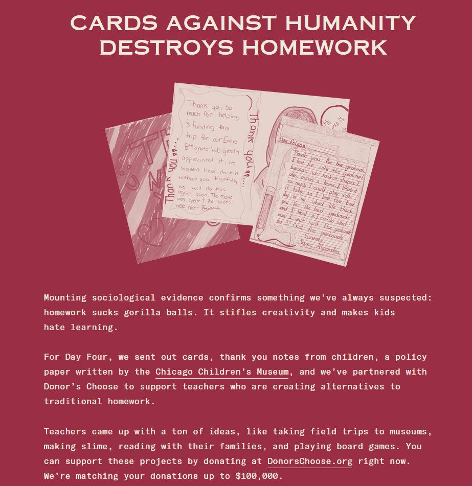 From the website  cardsagainsthumanitysavesamerica.com