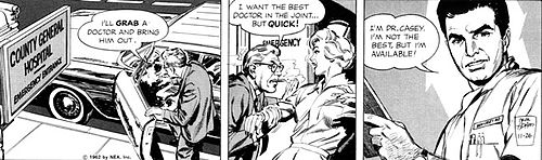 The Ben Casey strip from November 26, 1962. Art by Neal Adams.
