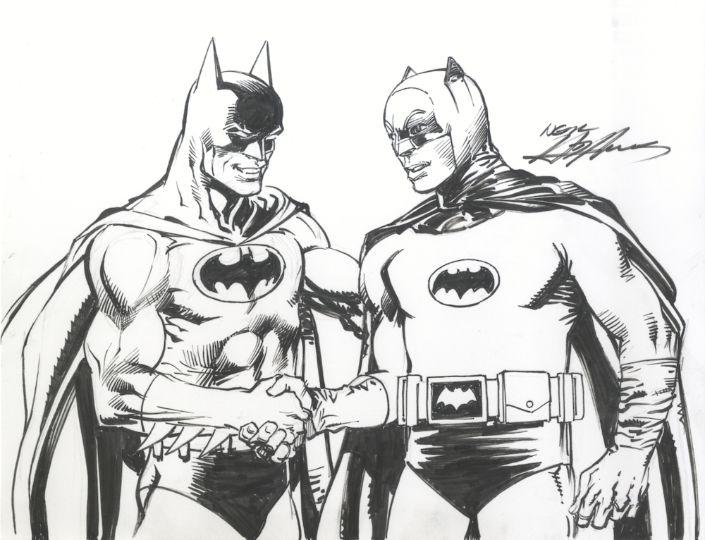 Batman from the comics meets Adam West. A commission by Neal Adams.