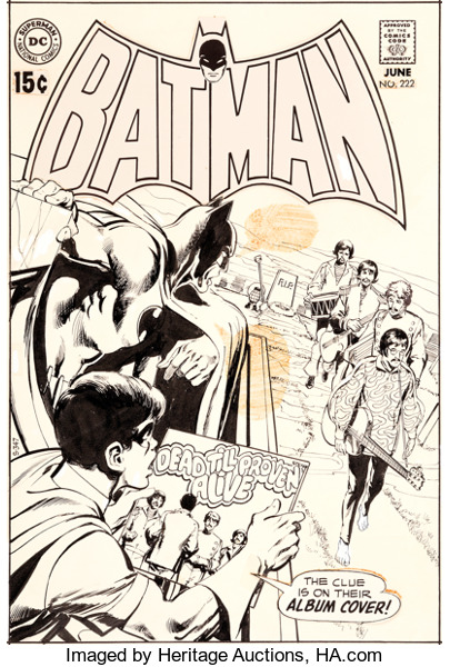 Batman (1940) #222 original cover pencils by Neal Adams.