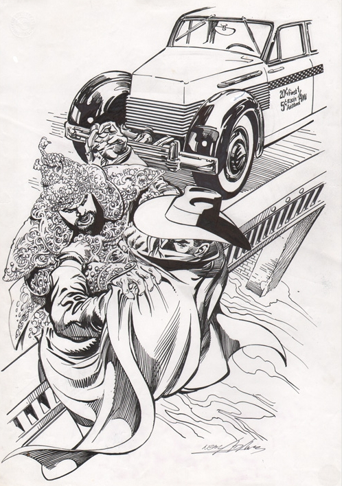 The Shadow fights Shiwan Khan. A commission by Neal Adams.