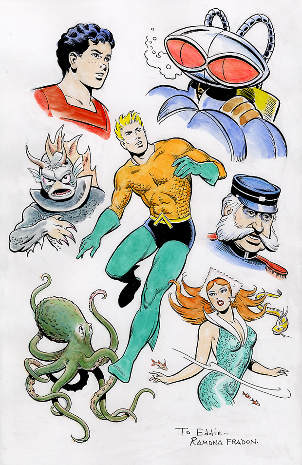 Aquaman group commission by Ramona Fradon.