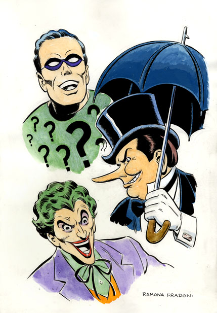 The Riddler, The Penguin, and The Joker by Ramona Fradon.