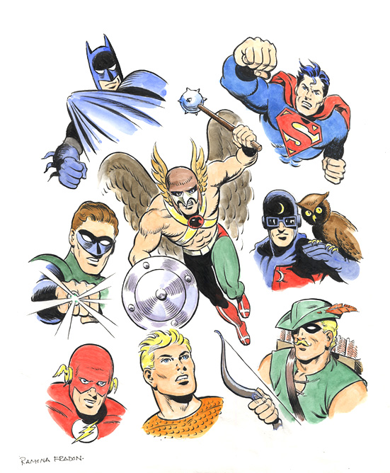Hawkman group commission by Ramona Fradon.